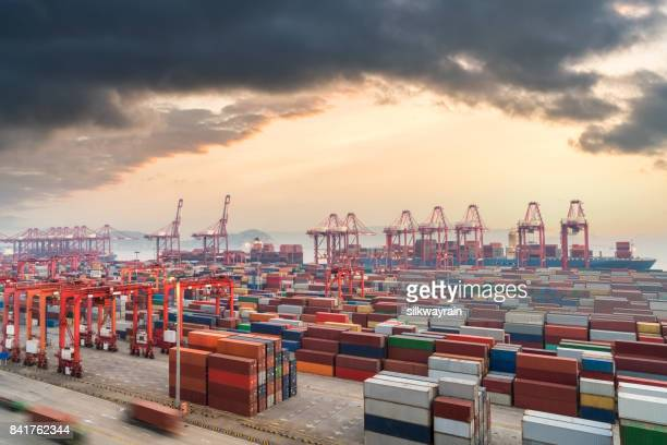 shanghai container terminal in sunset - economy stock pictures, royalty-free photos & images