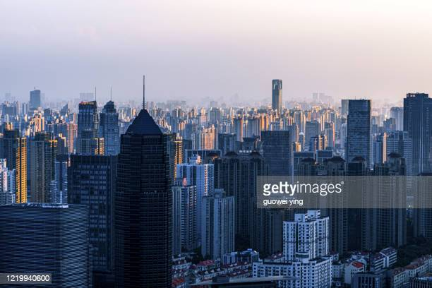shanghai downtown skyline sunrise - commercial real estate sign stock pictures, royalty-free photos & images