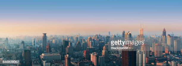 shanghai downtown sunset - images stock photos and pictures