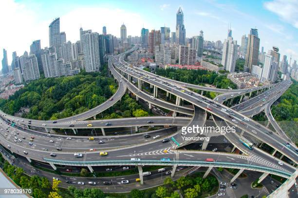 shanghai elevated road junction and interchange overpass in day