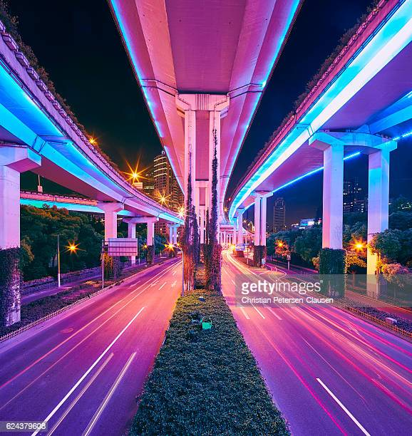 Shanghai Elevated Road Ya'an Lu intersection at night