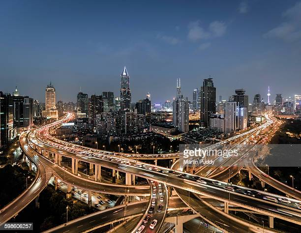 Shanghai, elevated view of busy road intersection