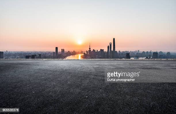 shanghai empty highway - asphalt stock pictures, royalty-free photos & images
