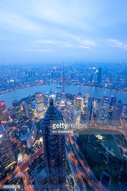 Shanghai evening skyline,