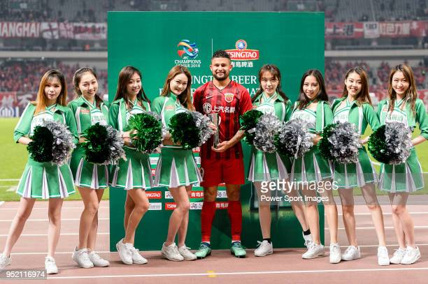 Shanghai FC Forward Elkeson de Oliveira Cardoso celebrating with his trophy of best match player during the AFC Champions League 2018 Group Stage F...