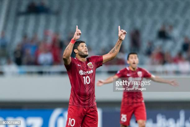 Shanghai FC Forward Givanildo Vieira De Sousa celebrating his score during the AFC Champions League 2017 Round of 16 match between Shanghai SIPG FC...