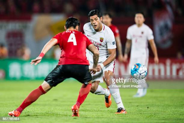 Shanghai FC Forward Givanildo Vieira De Sousa in action during the AFC Champions League 2017 Quarter-Finals match between Guangzhou Evergrande vs...