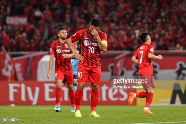 Shanghai FC Forward Givanildo Vieira de Sousa reacts during the AFC Champions League 2018 Group Stage F Match Day 5 between Shanghai SIPG and...