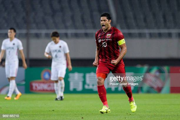 Shanghai FC Forward Hulk celebrating scoring his goal during the AFC Champions League Round of 16 match between Shanghai SIPG v Kashima Antlers at...