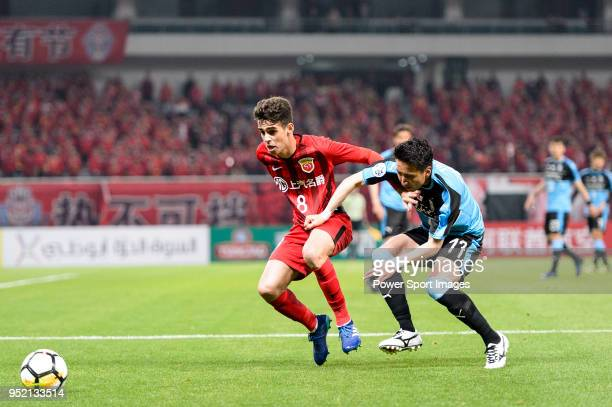 Shanghai FC Forward Oscar Emboaba Junior battles for the ball with Yuto Takeoka of Kawasaki Frontale during the AFC Champions League 2018 Group Stage...