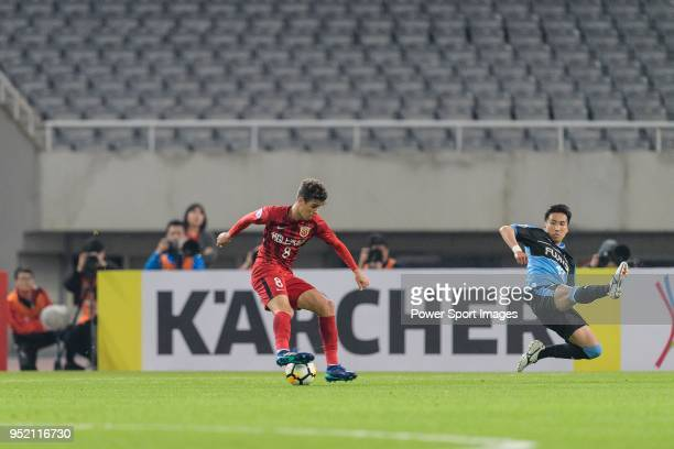 Shanghai FC Forward Oscar Emboaba Junior dribbles Yuto Takeoka of Kawasaki Frontale during the AFC Champions League 2018 Group Stage F Match Day 5...