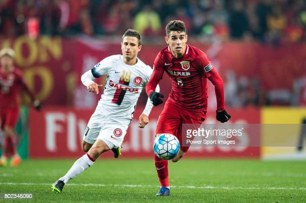 Shanghai FC Forward Oscar Emboaba Junior in action against Sydney Wanderers Forward Nicolas Martinez during the AFC Champions League 2017 Group F...