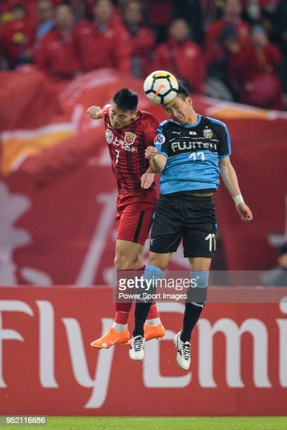 Shanghai FC Forward Wu Lei fights for the ball with Yuto Takeoka of Kawasaki Frontale during the AFC Champions League 2018 Group Stage F Match Day 5...