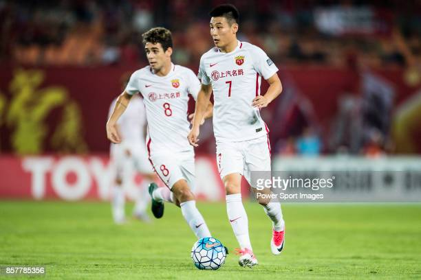 Shanghai FC Forward Wu Lei in action during the AFC Champions League 2017 Quarter-Finals match between Guangzhou Evergrande vs Shanghai SIPG at the...