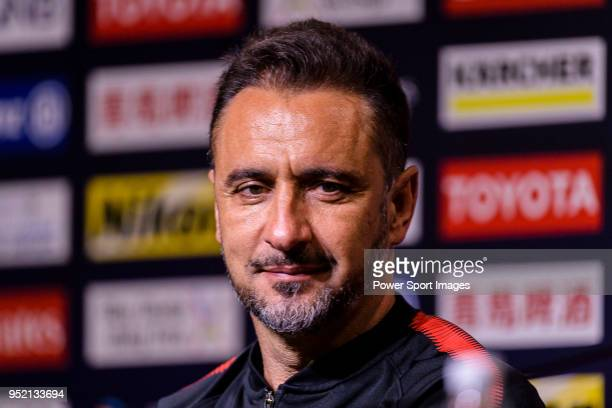 Shanghai FC Head Coach Vitor Pereira talks during the press conference for the AFC Champions League 2018 Group Stage F Match Day 5 between Shanghai...