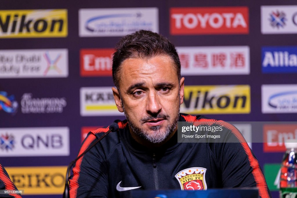 Shanghai FC Head Coach Vitor Pereira talks during the press conference for the AFC Champions League 2018 Group Stage F Match Day 5 between Shanghai SIPG and Kawasaki Frontale at Shanghai Stadium on 04 April 2018 in Shanghai, China.