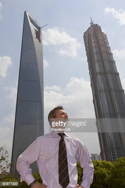 Shanghai Financial district European business man