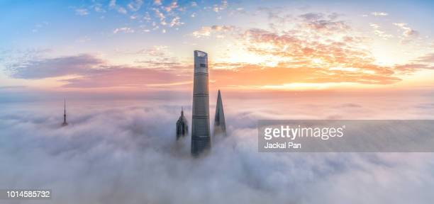 shanghai financial district in fog - tall high stock photos and pictures
