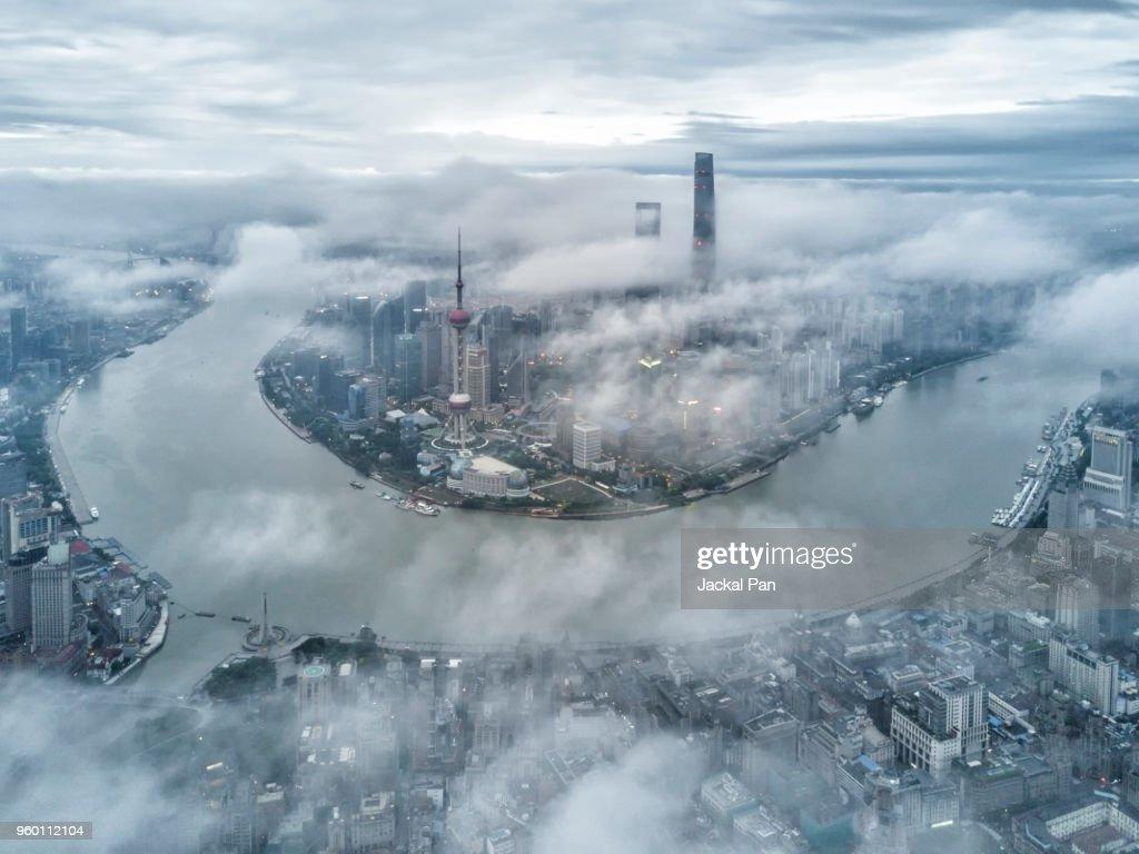 Shanghai Financial District In Fog : Stock-Foto