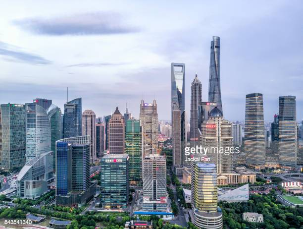 shanghai financial district - lujiazui stock photos and pictures