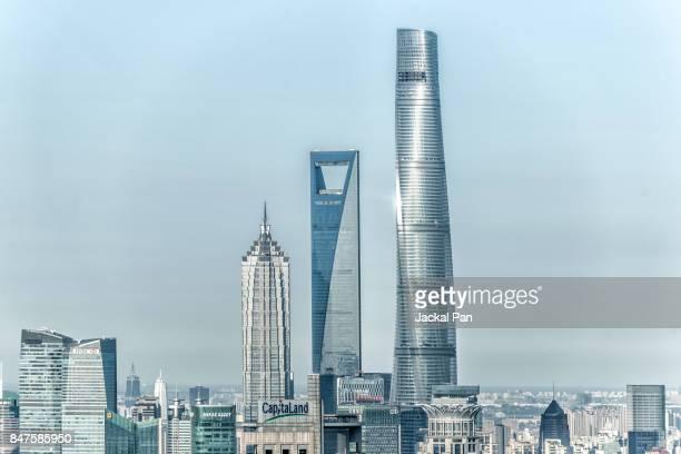 shanghai financial district - shanghai world financial center - fotografias e filmes do acervo