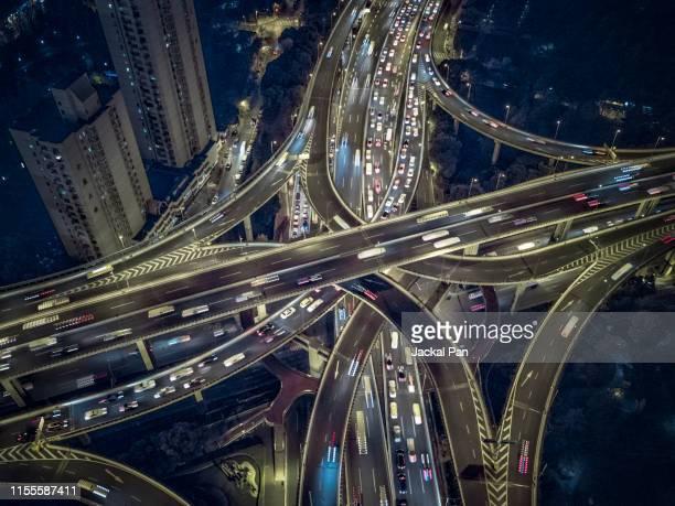 shanghai high way at night - 人工建造物 ストックフォトと画像