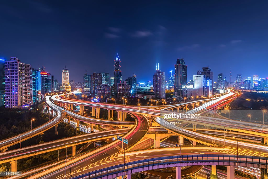 Shanghai Highway and skyline : Stock Photo
