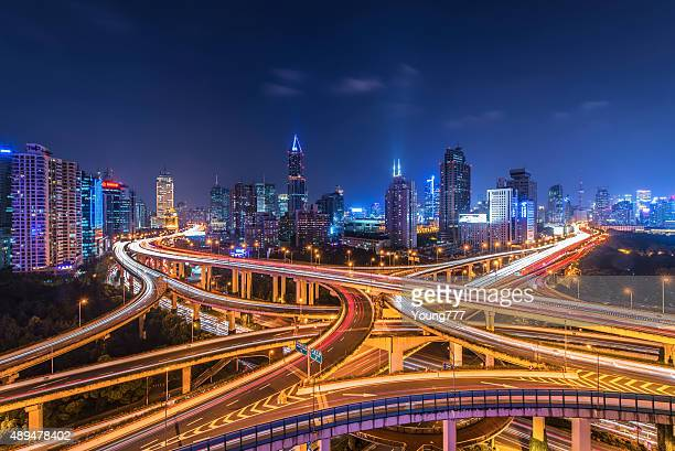 shanghai highway and skyline - prosperity stock photos and pictures