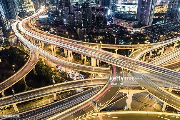 Shanghai Highway at Night