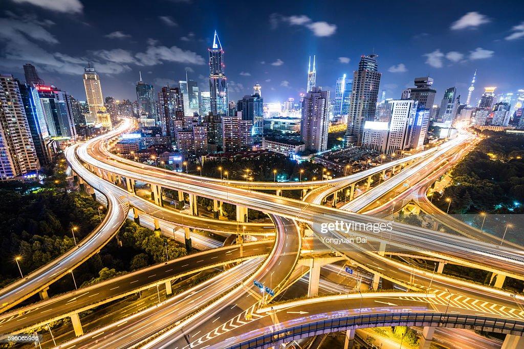 Shanghai Highway bei Nacht : Stock-Foto
