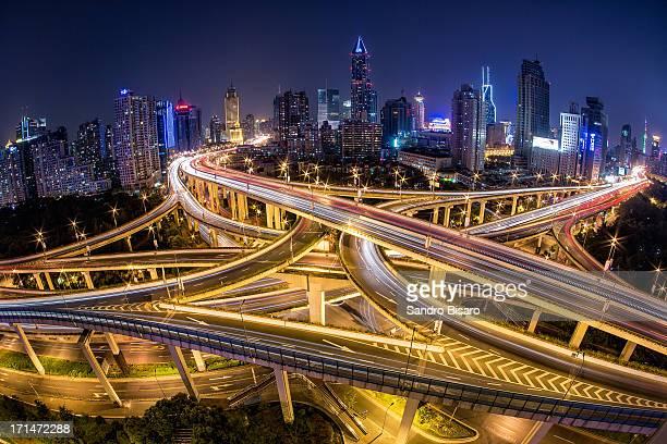 Shanghai Highway Skyline at night