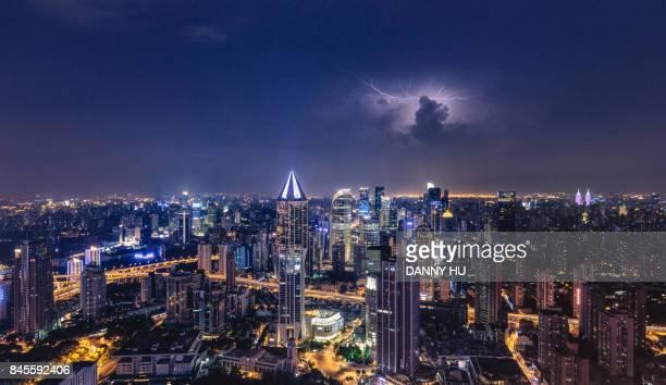 Shanghai Huangpu CBD at night with lightning