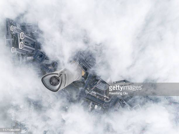 shanghai in clouds - lujiazui stock pictures, royalty-free photos & images