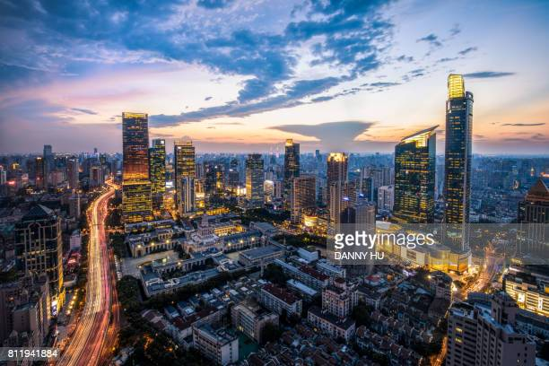 shanghai jin an CBD in the evening