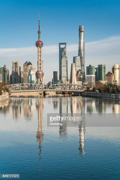 shanghai landmark building, shanghai skyline - huangpu river stock photos and pictures