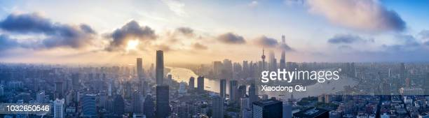 shanghai lujiazui  at dawn - panoramic stock pictures, royalty-free photos & images