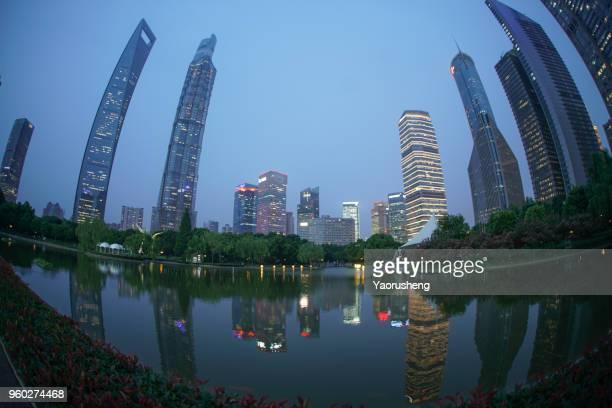 Shanghai lujiazui building in dusk-view by fisheye