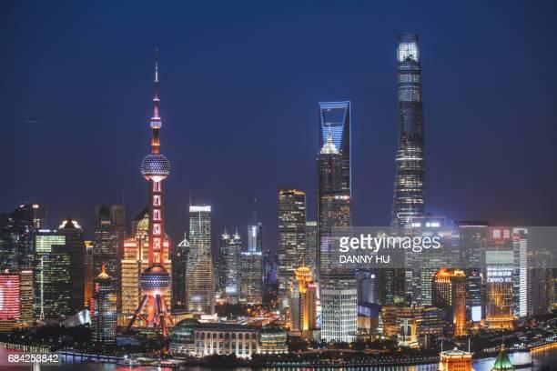 shanghai lujiazui buildings at night