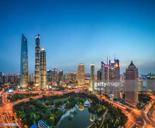 shanghai lujiazui cityscape - lujiazui stock pictures, royalty-free photos & images
