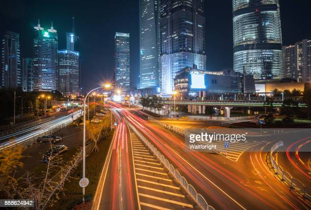 Shanghai Lujiazui district at night,Shanghai,China.
