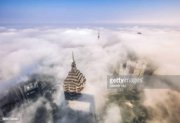 Shanghai Lujiazui district in fog