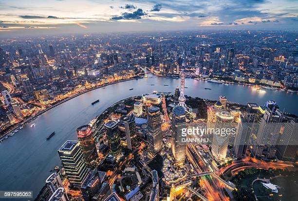 Shanghai Lujiazui district skyline in the evening