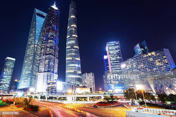 shanghai lujiazui financial district - lujiazui stock photos and pictures