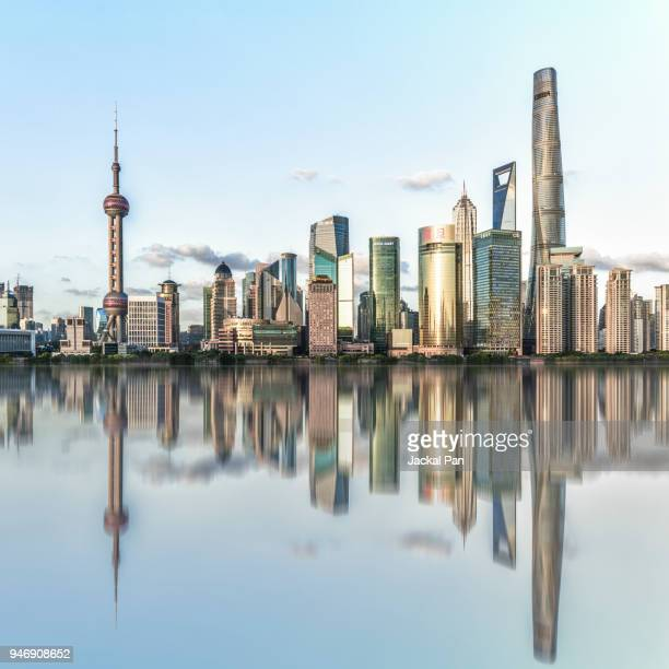 shanghai lujiazui financial district - pudong stock pictures, royalty-free photos & images
