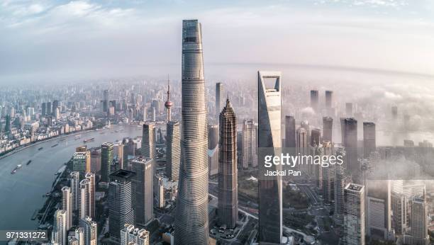 shanghai lujiazui financial district - shanghai stock pictures, royalty-free photos & images