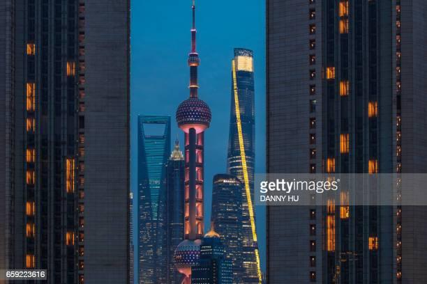 shanghai Lujiazui seen between two high buildings