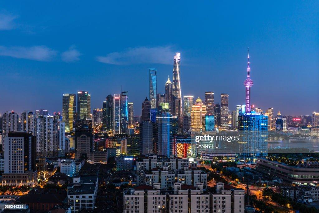 shanghai lujiazui skyline at blue hour : Stock Photo