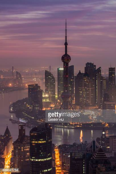 shanghai lujiazui skyline in the morning