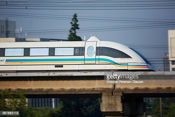 Shanghai Maglev traveling at high speed