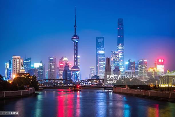 Shanghai modern illuminated Skyline at dusk